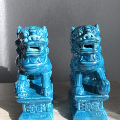 """Статуэтки """"Китайские львы голубые"""""""